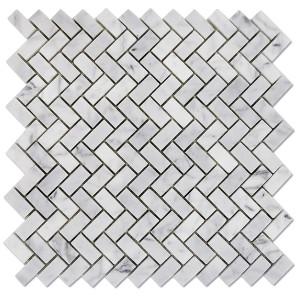 Carrara-Marble-Mosaic-Herringbone