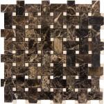 Basket-Weave-Mosaic-Dark-Emperador-with-Crema-marfil-dots