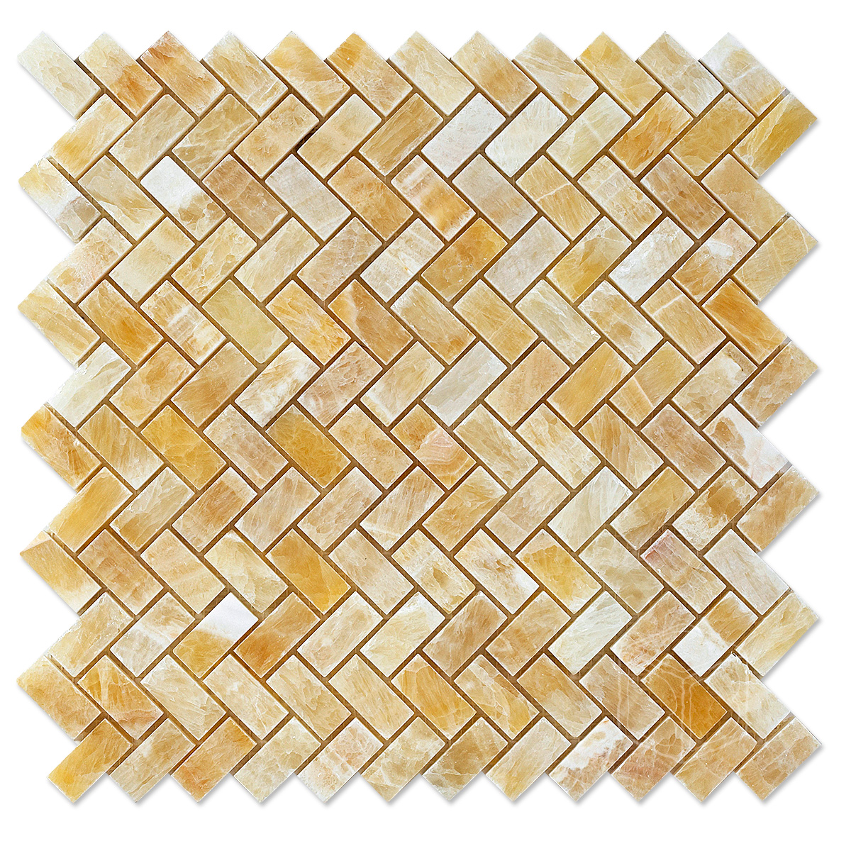 Honey Onyx Marble Mosaic Herringbone Polished